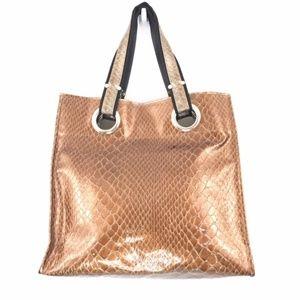 Kate Landry bronze snake embossed shopper tote bag